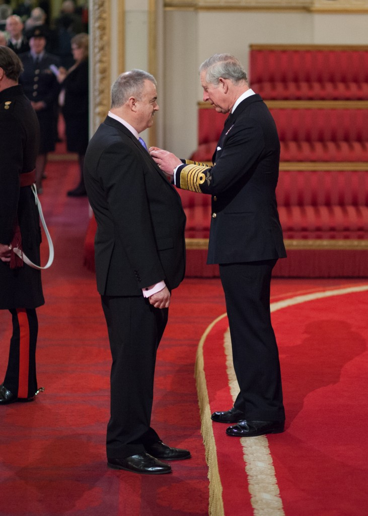 Lantern Project Founder - Graham Wilmer MBE - receives  his award from HRH Prince of Wales